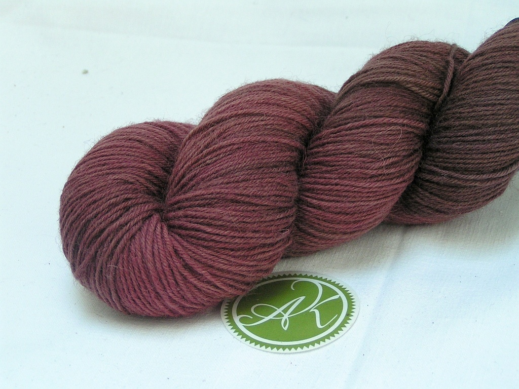 "Sockyarn 4-ply ""Cherry Chocolate"" 100g (3 53oz), Stripey Sockyarn"
